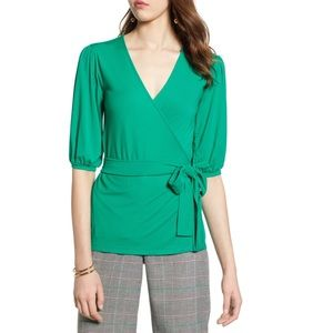 Halogen Wrap Knit Top Green M